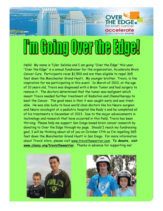 Tyler's Over the Edge Fundraiser!